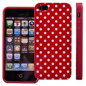 iHarbort stilvoll Silikon Schutz Hülle Schutzhülle für Apple iPhone 5 5S SE iPhone5/ 5S SE Schutzhülle Silicon Rück Schale Tasche Cover Case Etui mit klein weiß Punkte Rot