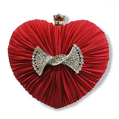 Juniors Womens Red Heart Rhinestone Clasp Prom Evening Cocktail Purse