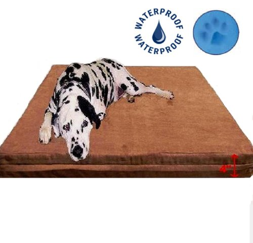 Microsuede Waterproof Memory Foam Pad Dog Pet Bed - Brown, Extra Large, 40