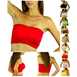 Bandeau Seamless Tube Bra Padded Top Adjustable Removable Shoulder Straps Skull Bones Design - One Size - Matching Boyshorts - Briefs - Thongs