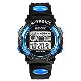 Bestpriceam 1pc Mens Boys Waterproof Sports Digital LED Alarm Date Rubber Band Wrist Watch Blue