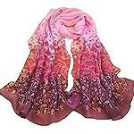 Sannysis Gradual Change Color Long Chiffon Wraps Shawl Soft Scarves Pink
