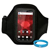 Black Moisture Resistant Neoprene Exercise Workout Armband with Adjustable Velcro Strap for Motorola Droid / Motorola Droid 2 / Motorola Droid 3 / Motorola Droid 4 / Motorola Droid X / Motorola RAZR MAXX / Motorola XT928 / Motorola DROID RAZR MAXX / Motorola MOTOLUXE (XT615) / Motorola ATRIX 2 + SumacLife TM Wisdom Courage Wristband