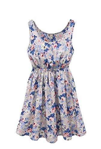 Bluetime Womens Summer Sleeveless Chiffon Skirts Mini Dress Gray