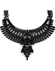 Phenovo Fashion Women Punk Gothic Bib Choker Statement Pendant Necklace Black