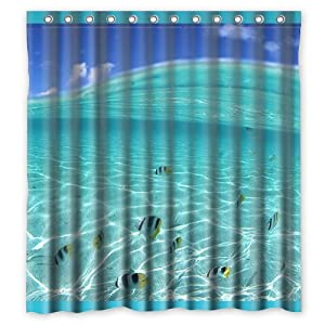 Custom Sea Word Waterproof Polyester Fabric Shower Curtain Standard Size 60x72