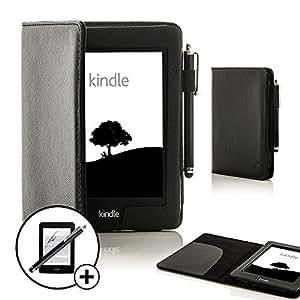 """ForeFront Cases® - Étui en cuir synthétique pour Kindle Paperwhite 6"""" 3G + Wi-Fi - fermeture magnétique avec mise en veille automatique - stylet et protection écran inclus - Noir"""