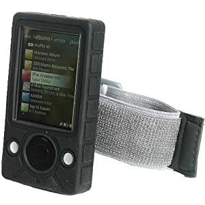 Silicon Black Skin Case with armband for Zune 30Gb. Premium Automotive Car Charger And Home AC Travel Wall Charger included.