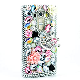 LG G Vista 2 Bling Case - Fairy Art Luxury 3D Sparkle Series Crown Flowrs Crystal Design Back Cover with Soft Wallet Purse Red Cloth Pouch - Silver
