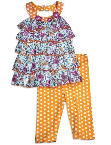 #1 Baby Sara - Infant Girls Tank Pant Set, Orange, White, Pink 30673-18Months