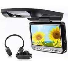 "buy Eonon C0803 Black 9"" Lcd Car Flip Down Monitor Dvd Player 32 Bits Game Ir Wireless Headphone"