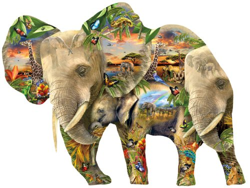 Elephant Shaped Jigsaw Puzzle - 1000 Pieces