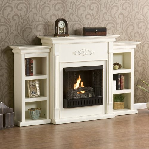 Tennyson Gel Fuel Fireplace Bookcase Carved Floral in Ivory picture B005TVEV14.jpg