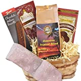 Chocolate Coffee Gift Basket, Kona Smooth Hawaiian Blend, Ground Coffee, for Christmas, All Occasion