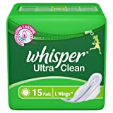 Whisper Ultra Clean, L Wings, 15 Pads