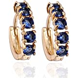 Yazilind Gold Plated Simple Style Inlay Round Cubic Zirconia Small Hoop Earrings