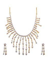 Ambica Jewellers White Gold Plated Necklace Set For Women - B00PVRWBYK