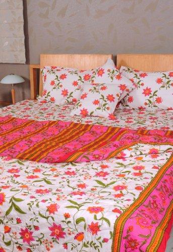 Imagen 2 de Hoja Traditional Floral Design Bed conjunto con cojines a juego Cubra Una colcha y almohada Casos Tamaño 90 x 108 pulgadas