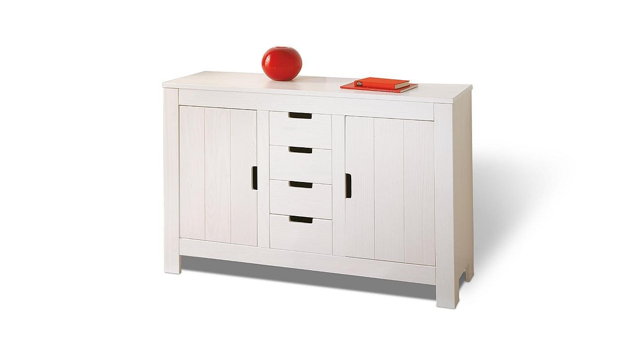 Sideboard weiß Kiefer 2 Türen 4 Schubladen Kommode günstig