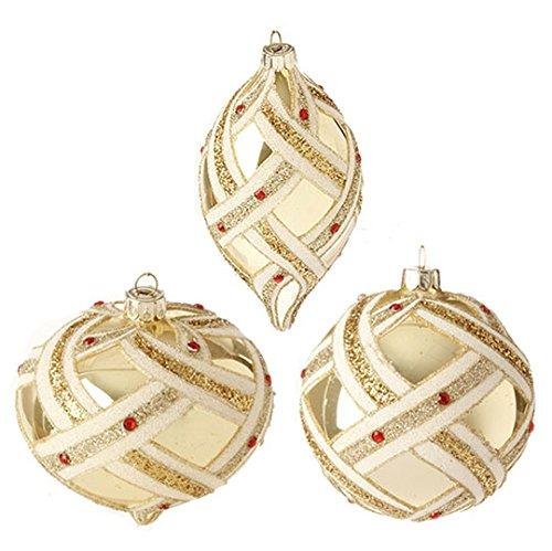 RAZ Imports – 4″ Glittered Ornaments – Set of 3