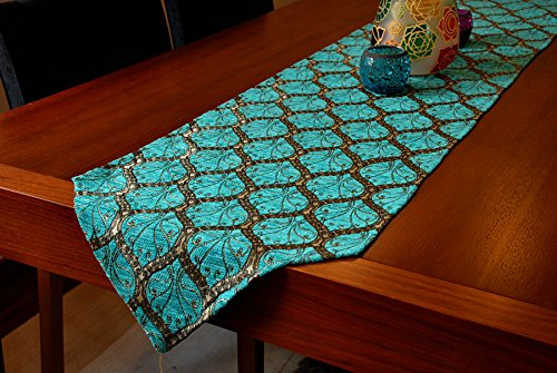 Table Runner 69x14 Luxury Peacock Series (Blue) (Teal Table Runner compare prices)