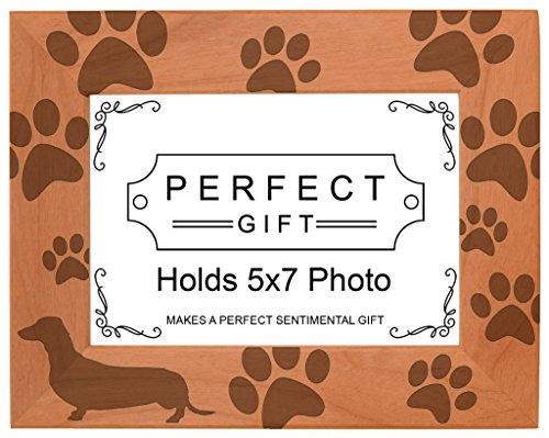 Dog Lover Gift Dachshund Weiner Dog Prints Natural Wood Engraved 5x7 Landscape Picture Frame Wood (Weiner Dog Picture compare prices)
