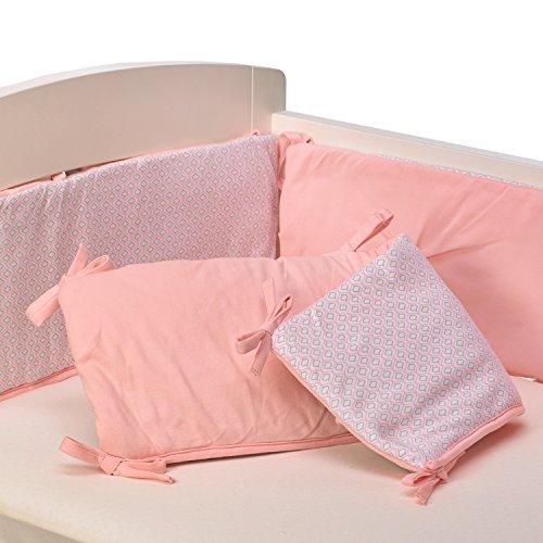 Living Textiles Jersey Pintuck Bumper, Pink/Koko Rose