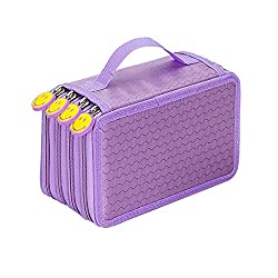 Imported 4 Layers Capacity Pencil Pen Case Travel Brush Makeup Storage Bag Purple