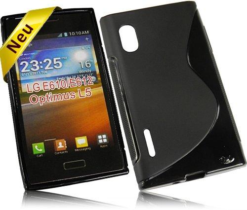 Für LG E610 Optimus L5 New Style S Design Tasche Silikon TPU Rubber Case Handytasche Hülle Schutzhülle Silicon Skin Cover in Schwarz