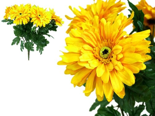 28 Yellow Silk Gerbera Daisy Wedding Party Flowers Bush