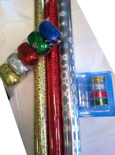Holographic Gift Wrap Set ~ Paper / Tape / Ribbon