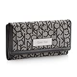Calvin Klein Womens Logo Jacquard Mega Flap Wallet