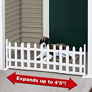Etna Pet Store Free Standing Expandable White Picket Fence
