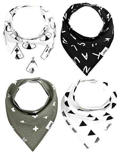 Matimati Baby Bandana Drool Bibs with Snaps for Boys & Girls | 4-Pack Unisex Baby Gift (Monochrome Set)