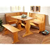 Essential Home Emily Breakfast Nook Kitchen Nook Solid Wood Corner Dining Breakfast Set Table Bench Chair Booth
