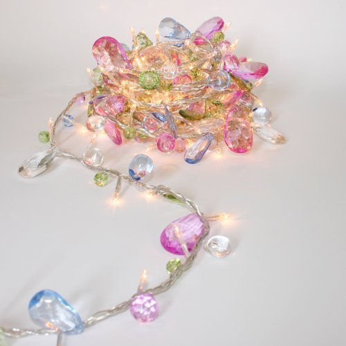 String lights-Bohemia style String with Jewels-Colorful Jewels LED Fairy Lights,Mains Powered-5M 50 LED String (Pink String Lights)