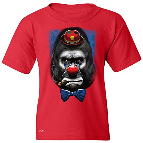 Gorilla Clown Sad Scary Youth T-shirt Halloween Costume Event Tee Red Large