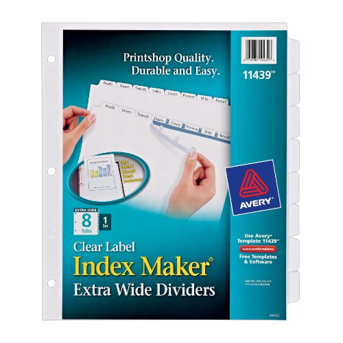 Avery index maker extra wide clear label dividers white 8 for Avery 8 tab clear label dividers template