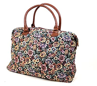 Womens Canvas Oilcloth Weekend Overnight Bag Ladies Large Tote Handbag Hand Luggage Maternity Holdall Tapestry Dog Butterfly - CB153-CB166-FB44