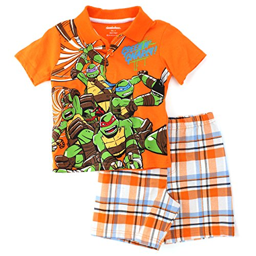TMNT Ninja Turtles Boys Polo Top T-Shirt Shorts Set