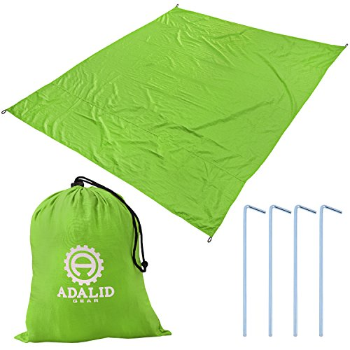 Beach Blanket with Accessories: Nylon Tote Pouch & 4 Stakes / Pegs – Also Used as Outdoor Camping Gear, Oversized Mat, Shade Tarp and Picnic Throw (Lime Green, Medium)