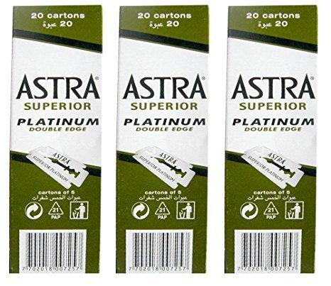 100 Astra Superior Premium Platinum Double Edge Safety Razor Blades 3-Count Pack (Razor Platinum compare prices)
