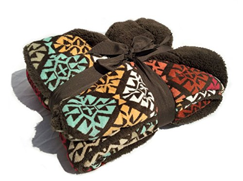 "Sherpa Throw Cozy Reversible Lined Blanket 50 x 60"" Microplush/Sherpa Throw Blanket (Multicolor Tribal Medallions)"