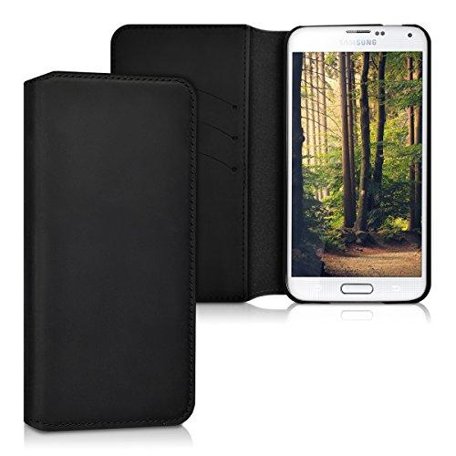 kalibri-Echtleder-Tasche-Hlle-fr-Samsung-Galaxy-S5-S5-Neo-S5-Duos-Case-mit-Fchern-und-Stnder-in-Schwarz