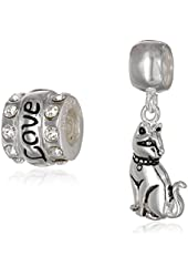 CHARMED BEADS Sterling Silver Crystal and Cat Bead Charm Set