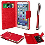 Online-Gadgets UK - Nokia 500 PU Leather Suction Pad Wallet Case Cover & High Sensitive Stylus Pen - Red