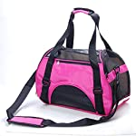 3 Colors Portable Pet Dog Cat Puppy Safety Carrier Case Comfort Car Travel Tote Shoulder Bag Backpack House Soft Sided Purse Handbag Crate Cage Kennel Pouch Airline Approved (Pink, M)