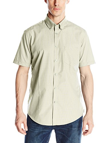 Van-Heusen-Mens-Short-Sleeve-No-Iron-Mini-Grid-Button-Up