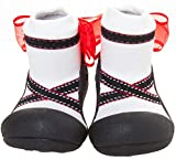 ATTIPAS Toddler Black Cotton First Walking Shoes Flats, Large