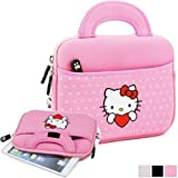 "Hello Kitty Themed Apple iPad Mini / 8"" Tablet Sleeve w/ Handles in Polka Dot Pink (Neoprene, Water Resistant, Branded YKK Zippers, Soft Plush Inner Lining)"
